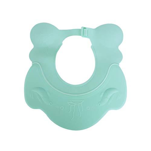 Bébé Shampooing Cap Étanche Protection des Oreilles Enfant Bonnet De Douche Enfant Bain Artifact Infantile Silicone Réglable (Couleur : Green)