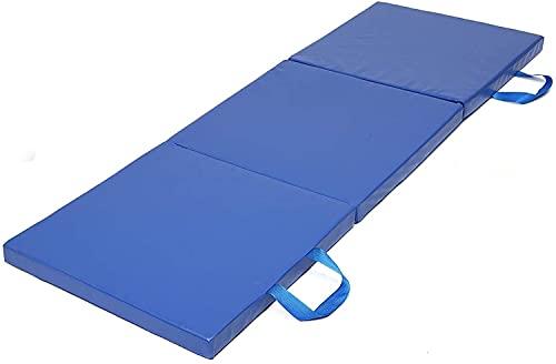 WXFCAS Übung Yoga Matte 3 Falten Gymnastik Matte Yoga Übung Gym Tragbare Panel Taumeln Klettern Pilates Pad Kissen Übungsmatten (Farbe: Blau, Größe: 180 × 60 × 5 cm)