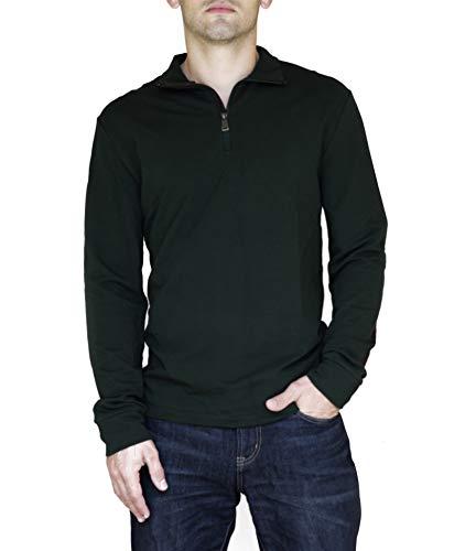 Ralph Lauren Mens 1/4 Zip Elbow Patch Casual Shirt Deep Pine M