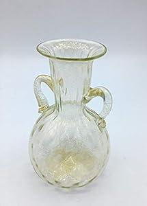 Scultura Murano Collection - Jarrón con hoja dorada de cristal de Murano fabricado en Italia