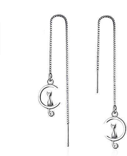 White Gold Plated Long Tassel Chain Sweet Cat on Moon Dangle Drop Threader Earrings for Women Girls