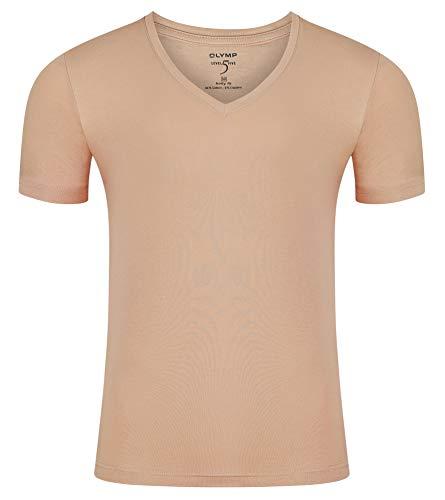 OLYMP Herren Unterzieh-T-Shirt Kurzarm, Level 5 Body Fit, tiefer V-Ausschnitt, Caramel (L)