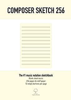 Composer Sketch 256 - A4 Muziekpapier met lege notenbalken: 256 pagina's A4 muziekpapier met onbeschreven notenbalken. Muz...