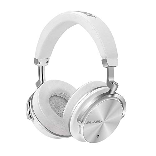 Bluedio T4S Superior Turbine Active Noise Cancelling Bluetooth Headphones with Mic Over-Ear Swiveling Wired and Wireless High-End Headphones with Carrying Bag for Cell Phone/PC/TV (White)