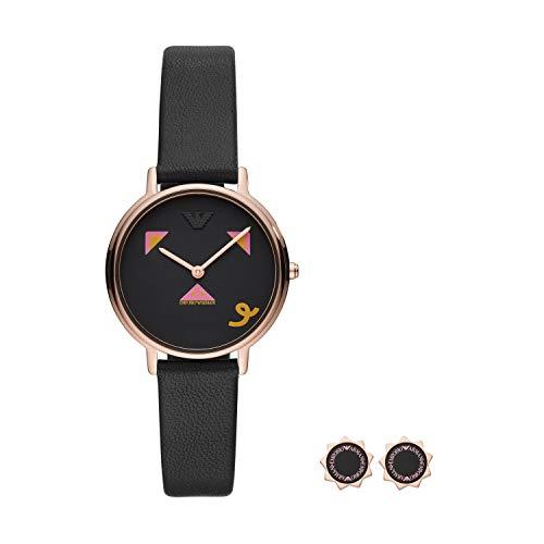 Emporio Armani dames analoog kwarts horloge met lederen armband AR80022