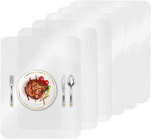 HOMEK Manteles Individuales Transparentes, Plástico Salvamanteles Individuales Antideslizante Lavable Resistente Al Calor Manteles Individuales para Cocina Hoteles Restaurante, 43 x 28 cm