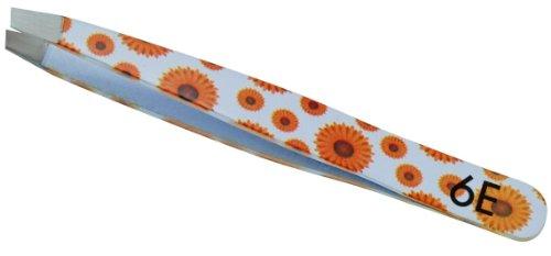 Wenkbrauwpincet, afgeschuinde punt, zonnebloemenmotief, 9 cm