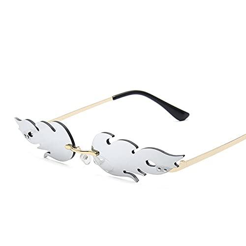 LOPIXUO Gafas de sol Gafas de sol de moda de lujo para mujer, sin montura, con ondas, gafas de sol, pantallas de metal, clásico, rojo, C2, dorado, plateado