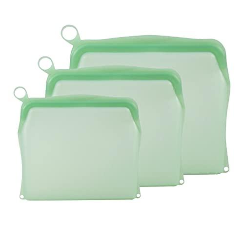 Nobranded Bolsas de Almacenamiento Reutilizables de Grado alimenticio 100% de Silicona-3 Paquetes de Bolsas de congelador Reutilizables para lavavajillas en - Verde
