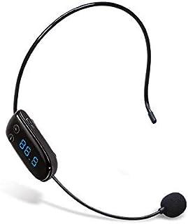 Micrófono de condensador sin manos con FM inalámbrico Micrófono de radio con megáfono para guía turístico, vendedor, profesor, presentador, conferenciante y karaoke (negro)