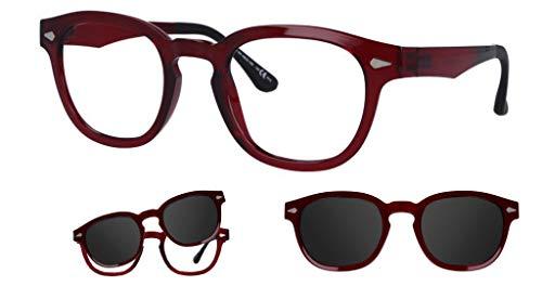 """Thema 286 Color 009 Rojo brillante Montura para gafas de vista y sol con 1 Clipper Original """"99 John St NYC"""" Género hombre"""