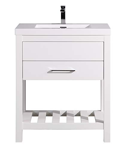 Bathroom Vanity Poppy 30 Inch – Freestanding Cabinet with 1 Drawer + Open Bottom Shelf – White Countertop with Integrated Sink – White Color – Assembled Vanity by Flairwood Decor
