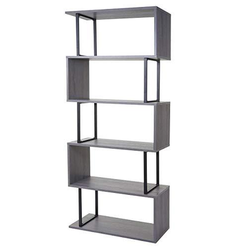 Bücherregal HWC-A27, Standregal Wohnregal, 183x80cm 3D-Struktur 5 Ebenen - grau, Metall schwarz