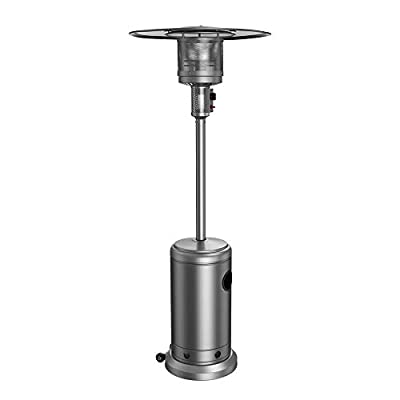 Anbull 48000 BTU Stainless Steel Outdoor Patio Heater propane with Wheels, for Patio, Lawn, Cafe, Restaurant