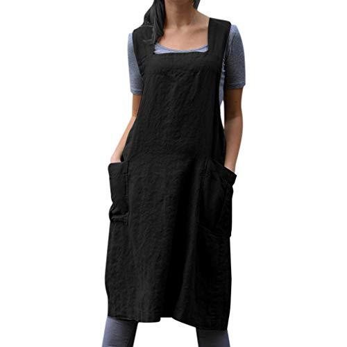 Kleider Damen Schürzenkleid Leinen Schürze Kleid mit Taschen,Lulupi Leinenkleid Ärmellos Knielang Sommerkleid Vintage Freizeitkleid Japanische Arbeitskleidung Minikleid