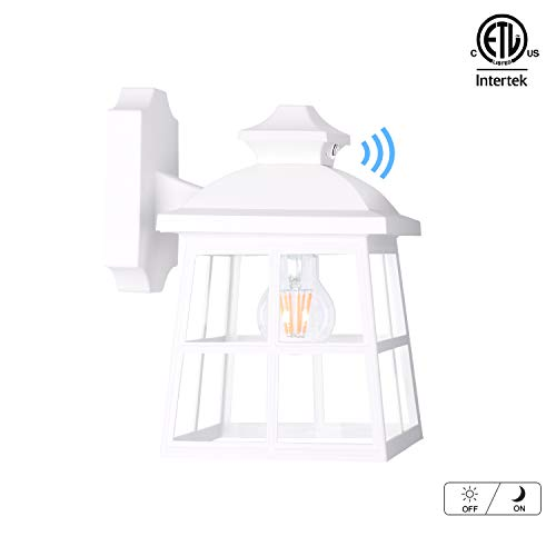 FUDESY Dusk to Dawn LED Outdoor Wall Lantern,White Plastic Photocell Sensor Porch Light with 8W 1200LM Edison Filament Bulb,Exterior Wall Mount Light Fixture for Yard,Patio,Garage,FDS747EPSW1