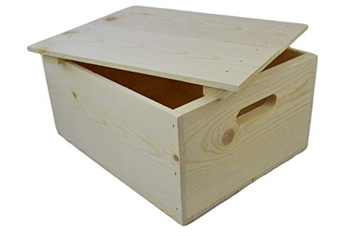 Wooden Pine Box with Hand Holes and a Drop on Lid