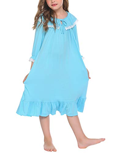 Image of Blue Ruffled Cotton Nightgown for Girls and Toddlers - See More Colors