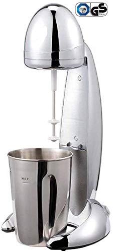 MIA ProBlend Milchshaker Eiweißshaker elektrisch 100W, 4in1 - Frappe Mixer - Milch Shaker - Cocktail Mixer - Eiweißmixer, 2 Stufen Standmixer, Milchmixer, 900ml Becher,Chrom【Testsieger - gut】