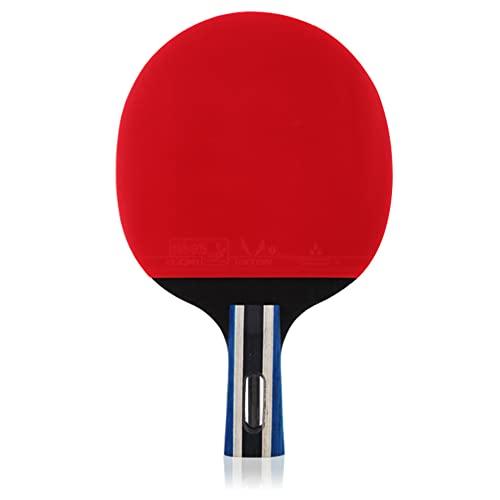 LINGOSHUN Juego de Paleta de Ping-Pong,Madera de 5 Capas,Raquetas de Tenis de Mesa para Aficionados,Principiantes Juego de Interior Exteriores / 2 Stars/Short handle