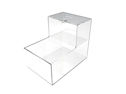 "FixtureDisplays 8x10x12"" Locking Acrylic Fundraising Donation Box Coin Container with Cam Lock + Product Compartment Give N Take 15945"