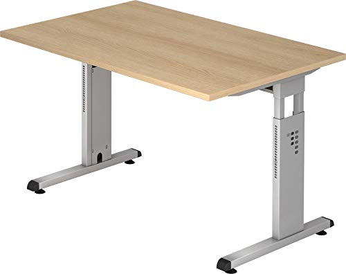 bümö® Stabiler Schreibtisch höhenverstellbar 120 x 80 cm | Bürotisch in Eiche | Büroschreibtisch mit Höheneinstellung | Tisch für Büro in 9 Größen & 7 Dekoren