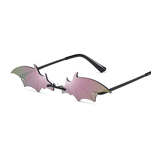 DFSMG Moda sin Montura Hombres Gafas de Sol Mujeres Moda de Moda en Forma de Gafas de Sol Femenino Masculino Vintage Espejo Negro Tonos metálicos (Lenses Color : Black Purple)