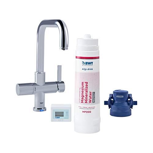 BWT Wasserfilter-Wasserhahn für Küche | AQA drink Pure U-Set | inkl. Filterkartusche mit 600l Kapazität | Küchenarmatur von GROHE