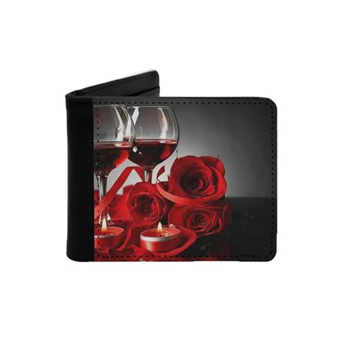 Cartera Delgada de Cuero para Hombre,Vino Tinto en Copas Rosa roja y corazón Decorativo sobre Fondo Oscuro,Cartera Minimalista con Bolsillo Frontal Plegable