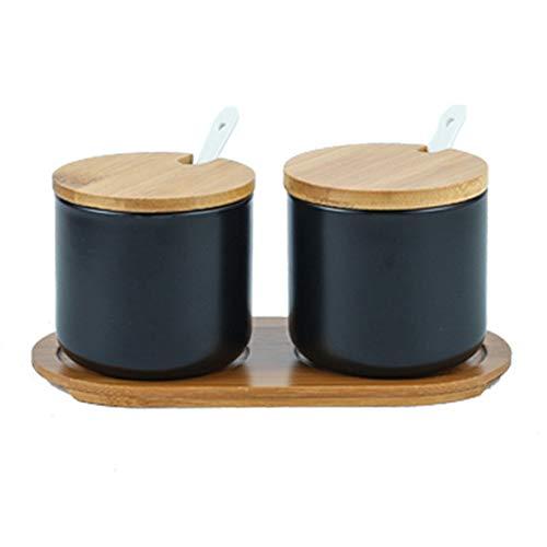 OnePine 2er Set Keramik Gewürzdosen Salztopf Keramik Zuckerdose Gewürzgläser mit Löffel und Bambus Deckel für Tee Zucker Salz Gewürze