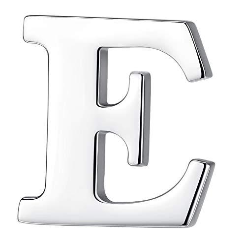 HONEY BEAR 1 Stück Buchstaben Brief Broschen Pins A bis Z, Edelstahl für Herren/Damen Anzug Hemd, Geschäft Hochzeit Geschenk,Silber,MEHRWEG (E 0.59inches)