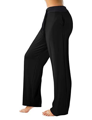 Doublju Women#039s High Waist Comfy Casual Floral Print Drawstring Wide Leg Pajama Pants Black XLarge