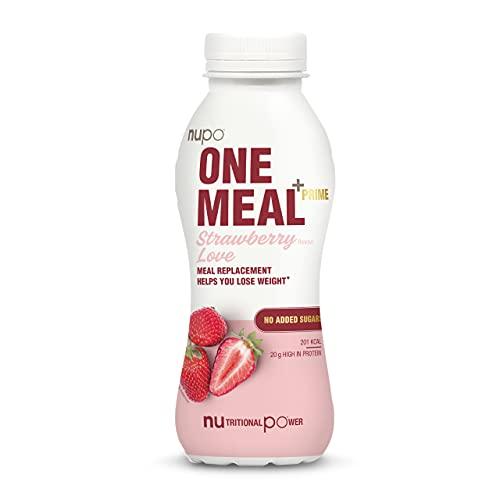 NUPO One Meal + Prime Strawberry Love – Diätdrink zum Abnehmen I Klinisch geprüfter Mahlzeitersatz für effiziente Gewichtsabnahme & -kontrolle I 12 x 330ml I ca. 200 kcal I Ohne Zuckerzusatz