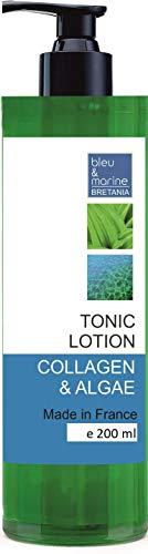 Tónico Piel Sensible - Loción Limpiadora Suave con Colágeno y Algas 200 ml - Loción Tónica Calmante Tonificante - Tratamiento hidratante y reductor de poros - Todo Tipo de Piel y Piel Sensibl
