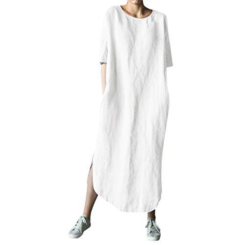 QIMANZI Kleider Damen Blusenkleid Einfarbig Bettwäsche aus Baumwolle Maxikleider Lange Ärmel O-AusschnittFalten Freizeitkleidung(Weiß,XXL)