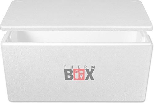 Therm Box Caja térmica Caja de Espuma de poliestireno 70W, Interior: 70x30x32cm, Pared: 2,5cm, Volumen: 70L Caja Aislante Caja térmica Caja fría Caja Caliente Reutilizable