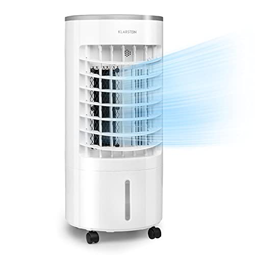 Klarstein Skypillar 3-in-1 Luftkühler, Luftkühler/Ventilator/Luftbefeuchter, Luftumwälzung: 228 m³/h, topseitiger Wassertank: 5 L, Oszillation, 3 Geschwindigkeiten, 65 Watt, weiß