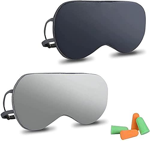 URAQT Schlafmaske, 2 Stück Seide Augenmaske Nachtmaske, Doppelseitig Augenbinde Sleep Mask mit Ohrstöpseln und Verstellbarem Gummiband, für Reisen Schichtarbeit Nickerchen