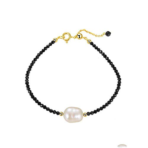 JXtong2 Armband Sterling Silber Armband Mini Armreif schwarzer Spinell Edelstein und Perle Party Schmuck heißes Jubiläumsgeschenk