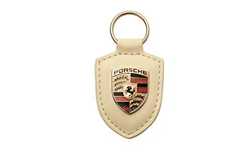 ORIGINAL Porsche Schlüsselanhänger BEIGE Leder mit Wappen WAP0500960E