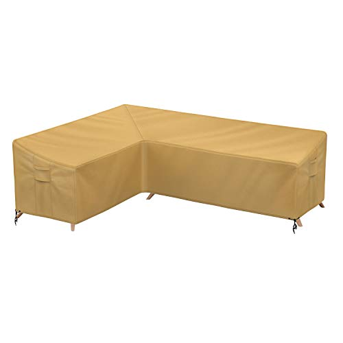 Sunkorto Patio L-Shaped Sectional Sofa Cover, Left Facing Furniture Cover Garden Couch Cover Waterproof & Wear-Resistant for Outdoor