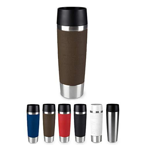 Emsa Travel Mug - Taza térmica de 0,5 l, mantiene calor 4 h y frío 8 h, acero inoxidable con base antideslizante y zona de agarre de silicona con letras grabadas, color marrón