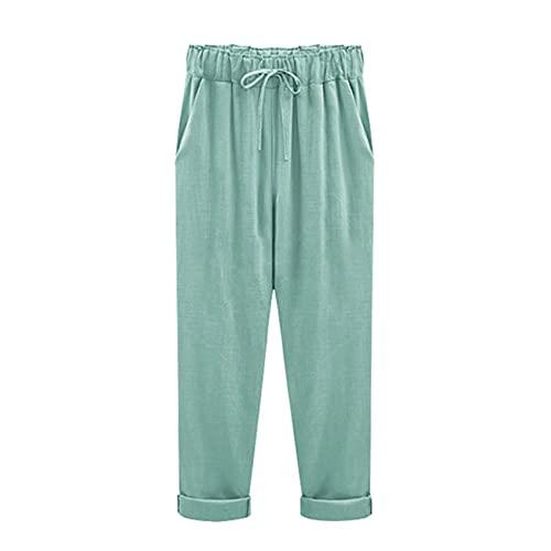 WJANYHN Pantalones Pantalones Cortos De AlgodóN Y Lino De ImitacióN para Mujer, MáS Pantalones De Mujer...