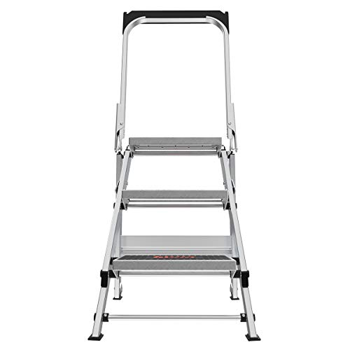 Little Giant Ladders, Safety Step, 3 Step, 2 Foot, Step Stool, Aluminum, Type 1A, 300 lbs Weight Rating, (13610-071)