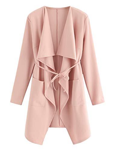 Romwe Women's Waterfall Collar Long Sleeve Wrap Trench Coat Cardigan Pink L