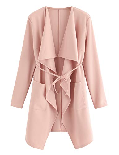 Romwe Women's Waterfall Collar Long Sleeve Wrap Trench Coat Cardigan Pink M