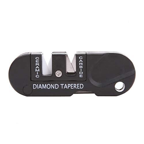 Portable Affûteur Mini Poche Porte-clés Sharpener Pliable Couteau d'affilage pour la Survie Chasse Pêche Randonnée Camping Noir 1pc