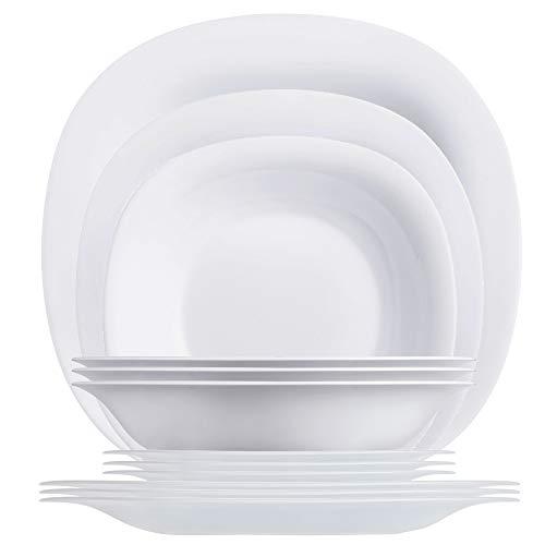 Luminarc Piece White Dinnerware Set Carine-Vajilla (12 Piezas), Color Blanco, Vidrio