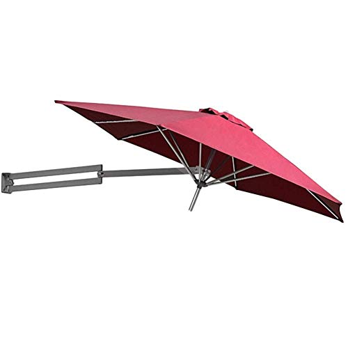 Parasols Wall Mount Patio Umbrella With Aluminium Pole, Outdoor Garden Yard Balcony Tilting Sunshade Umbrella, 8ft / 250cm (Color : Wine Red)