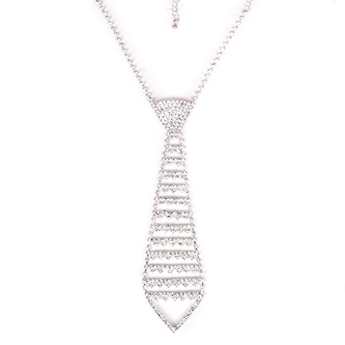 Fashion Funkeln Kristall Strass Krawatte Halskette Schmuck Fuer Abschlussball Silber
